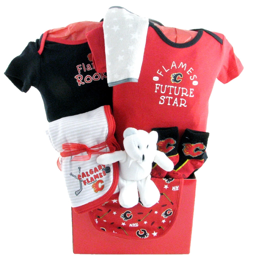 Baby Gift Basket Delivery Calgary : Calgary flames basket with teddy bear glitter gift baskets