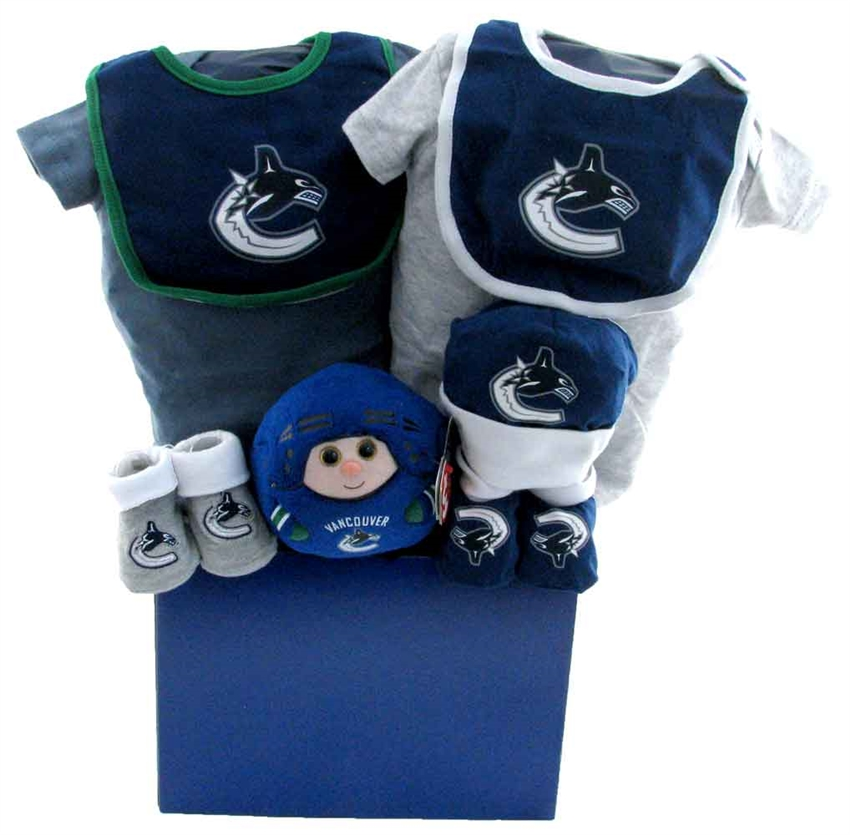 Baby Gift Baskets Vancouver : Vancouver canucks basket with teddy bear glitter gift