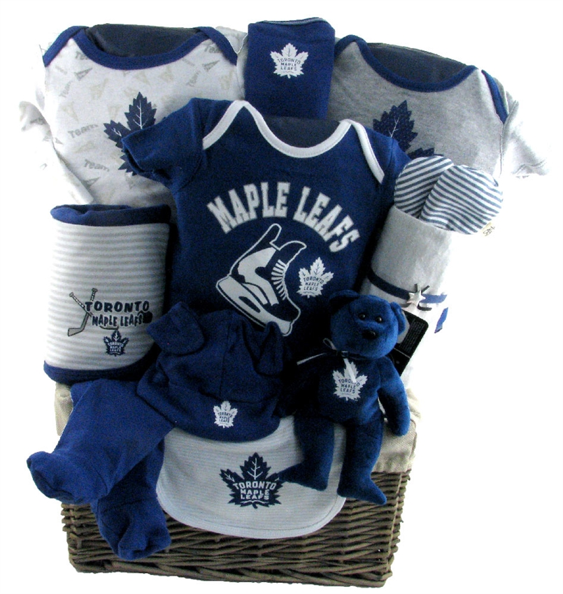 Baby Gift Baskets Canada Toronto : Toronto maple leafs deluxe baby basket glitter gift baskets