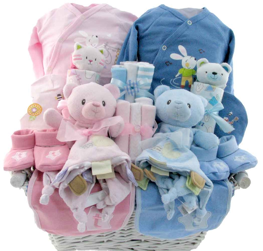 Baby Gift Basket For Twins : Precious twin arrival glitter gift baskets