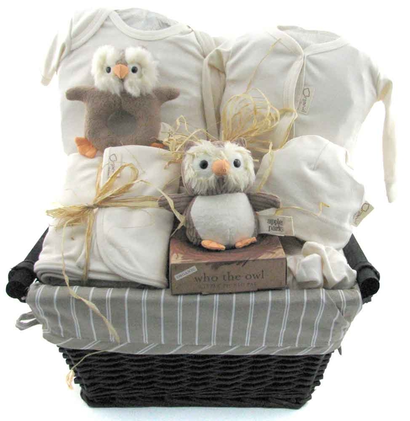 Baby Gift Baskets California : Who the owl organic deluxe glitter gift baskets
