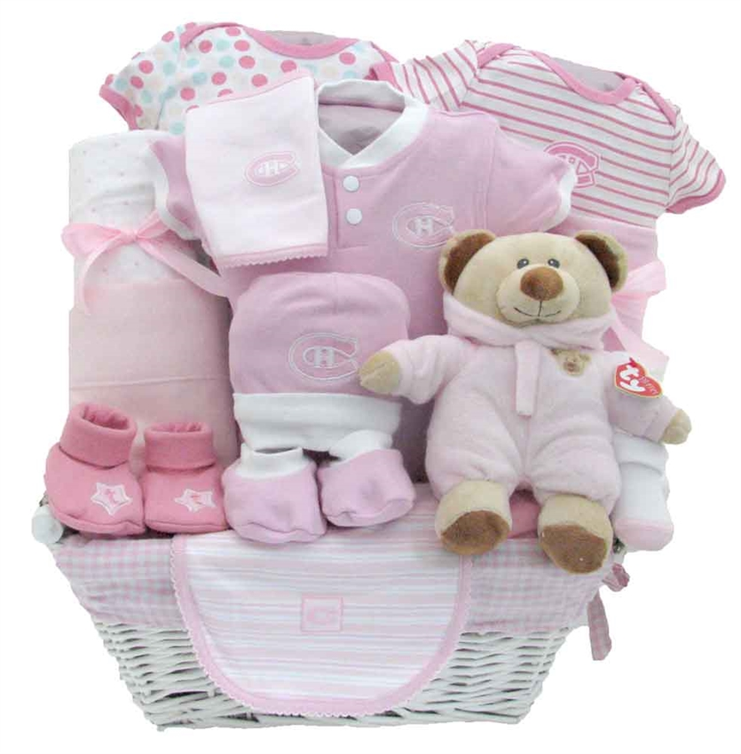 Baby Gift Baskets For Girl : Deluxe montreal canadiens baby girl basket glitter gift